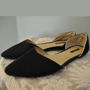 Black Faux Suede D'orsay Flats Shoes